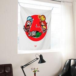 마블 어벤져스 가와이 히어로즈 행잉 패브릭 포스터 L