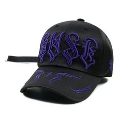 WAVE SATIN BASEBALL CAP BLACK