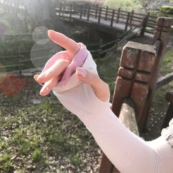 여성 UV차단 오가닉 배색러플 롱장갑 토시 암워머