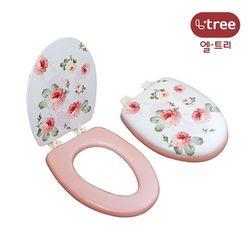 엘트리 로맨틱 변기커버 핑크로즈 특대형 1입