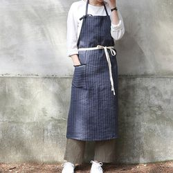 linen stripe apron ( 2 color )