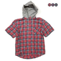 Hoodie Half Sleeve Check Shirt(3color)(unisex)