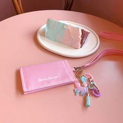 [유니콘 참 키링 증정] 심플 밸크로 지갑 핑크 (AG2H8207OAPP)