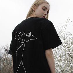 [16수] 레터링 타투 오버핏 티셔츠 블랙