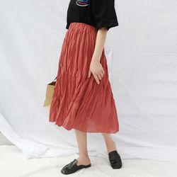 Banding chiffon pleats skirt