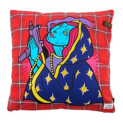 GUADALUPE CHECK THROW PILLOW RED