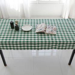 그린 체크 코튼 테이블 커버 L 105cmx175cm