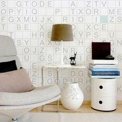 물에빠진 조각 실크 포인트 벽지 알파벳 MZ110-A