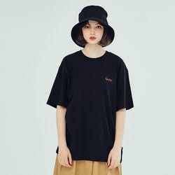 (UNISEX) 킨쿠 베이직 자수 반팔티셔츠 블랙