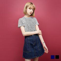 2127 호피 패턴 반팔 티셔츠 (2colors)