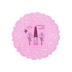 (DIY) 투명 핑크 도일리 스티커 10개