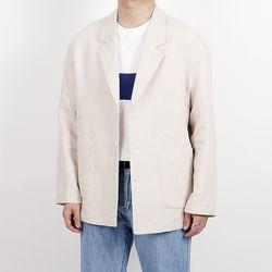 Minimal herringbone linen jacket