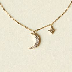 Moon and Star Cubic Zirconia Necklace