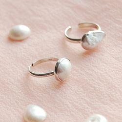 Cream Moon 천연 바로크 진주 Ring (6월 탄생석)