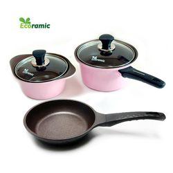 통주물 세라믹냄비3종세트(핑크)