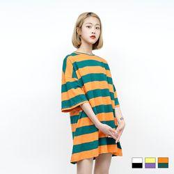 2133 썸머 슬랍 단가라 티셔츠 (3colors)