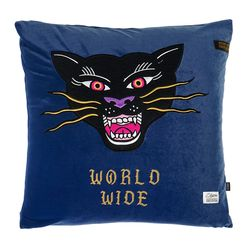 BLACK PANTHER VELVET THROW PILLOW BLUE