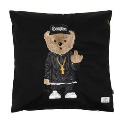COMPTON BEAR THROW PILLOW BLACK