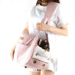 브이숄더백 핑크