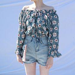 Flower off shoulder blouse(3colors)