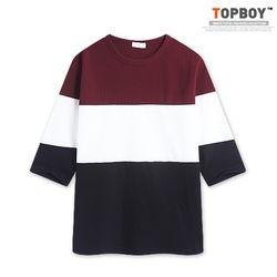 [탑보이] 와플 투톤 7부티셔츠 (RT607)