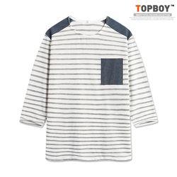 [탑보이] 청지 배색 단가라 7부 티셔츠 (RT590)