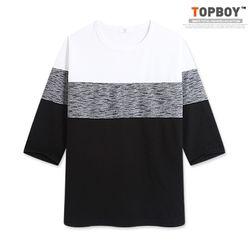 [탑보이] 와플 삼단배색 7부티셔츠 (RT414)