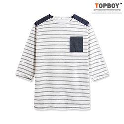 [탑보이] 청지 배색 단가라 7부티셔츠 (RT412)