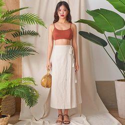 caramel linen wrap skirt