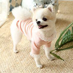 강아지 자수 레이스 니들포인트 티셔츠 c3