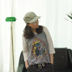 슬라브 배색 페인팅 코튼 티셔츠n512