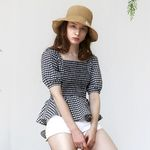 Gingham Check Blouse