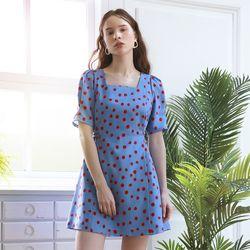 [니콜 착용] Dot Puff Shoulder Dress (Blue)