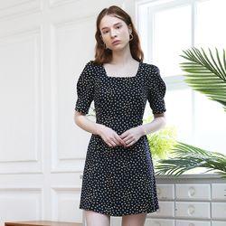 Dot Puff Shoulder Dress (Navy)