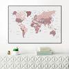 핑크 세계지도 - 홈데코 보드액자 (A1)