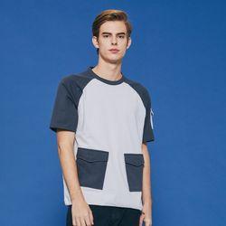 사선 포켓 배색 라그랑 티셔츠