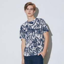 하와이안 프린트 헨리넥 티셔츠