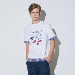 스트라이프 배색 프린트 티셔츠