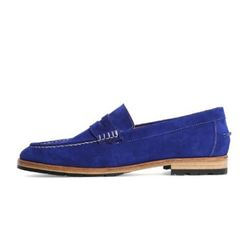 COW SUEDE PENNY LOAFER-COBALT BLUE