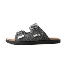 BUCKLE DETAIL HARRIS TWEED SANDALS-BLACK