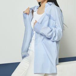 블루 스트라이프 오버핏 히든버튼 셔츠