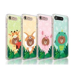 라인프렌즈 iPhone7 8 정글 브라운 HG 라이팅 CASE