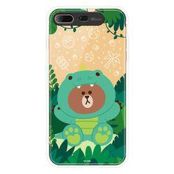 라인프렌즈 iPhone8 7Plus 정글 브라운 M 라이팅 CASE