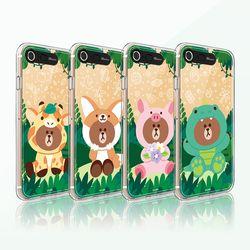 라인프렌즈 iPhone8 7 정글 브라운 미러 라이팅 CASE