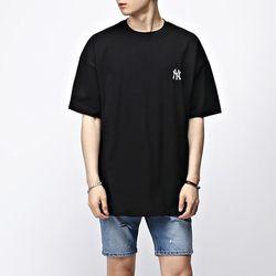 [매트블랙] 베이스볼 자수 반팔 티셔츠