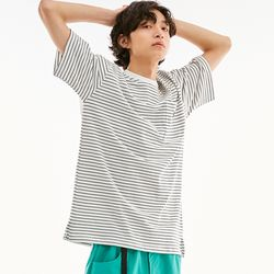 BD LOGO STRIPED POCKET T-SHIRTS WHITE
