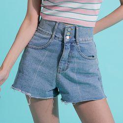 Three Button High Waist Denim Shorts