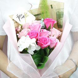 캘리그라피 비누로즈 10송이-러블리 핑크(전구미포함)