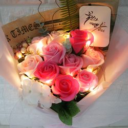 캘리그라피 비누로즈 10송이-러블리 핑크(전구포함)