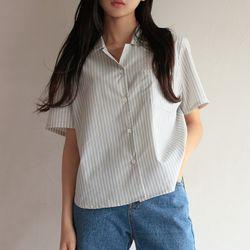 멀티 스트라이프 하프셔츠 (2color)
